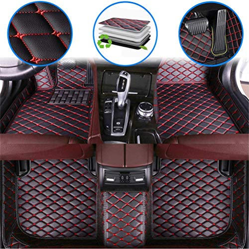 Car Custom Floor Mats for Aston Martin Vanquish 2014-2017 Luxury Leather Waterproof Anti-Slip Full Coverage Liners Complete Set (Black red)