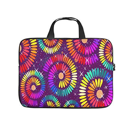 Tie Dye Colourful Circle Flowers Laptop Bag Scratch Resistant Laptop Briefcase Funny Notebook Bag for University Work Business