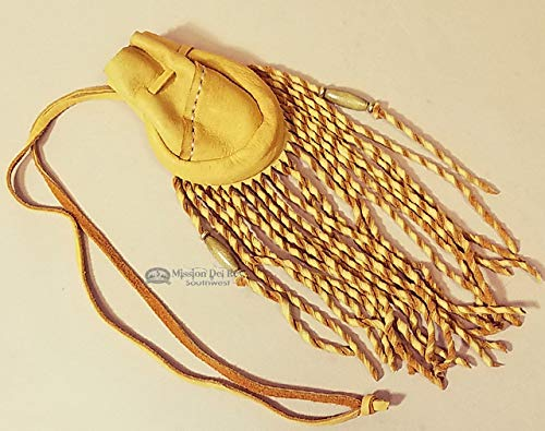 Native American Curly Fringe Medicine Bag 4' -Pueblo Indian Medicine Pouch, Possible Bag