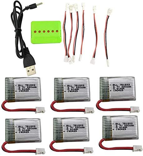 ZYGY Batteria 6PCS 3.7V 220mah Li con Caricatore bilanciamento 6in1 per E010 E010C E011 E011C E013 GoolRC T36 NINHUI NH010 F36 H36 HS210 SANROCK GD65A ATOYX AT-66 Drone Batteria