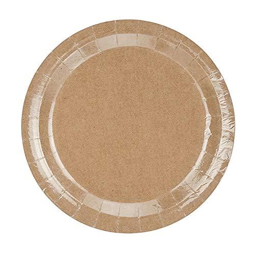 6 platos de papel kraft para fiestas, 23 cm