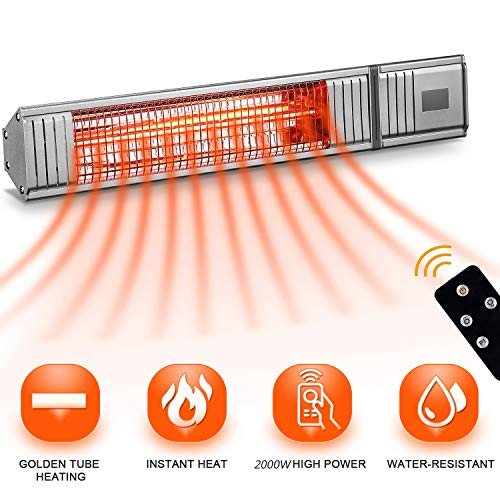 Sundate Electric Infrared Heater, 2000W Wall Mount Patio Heater with Remote Control, Outdoor/Indoor Infrared Space Heater 24 Hours Timer Waterproof IP65 for Home, Garden, Office, Restaurant