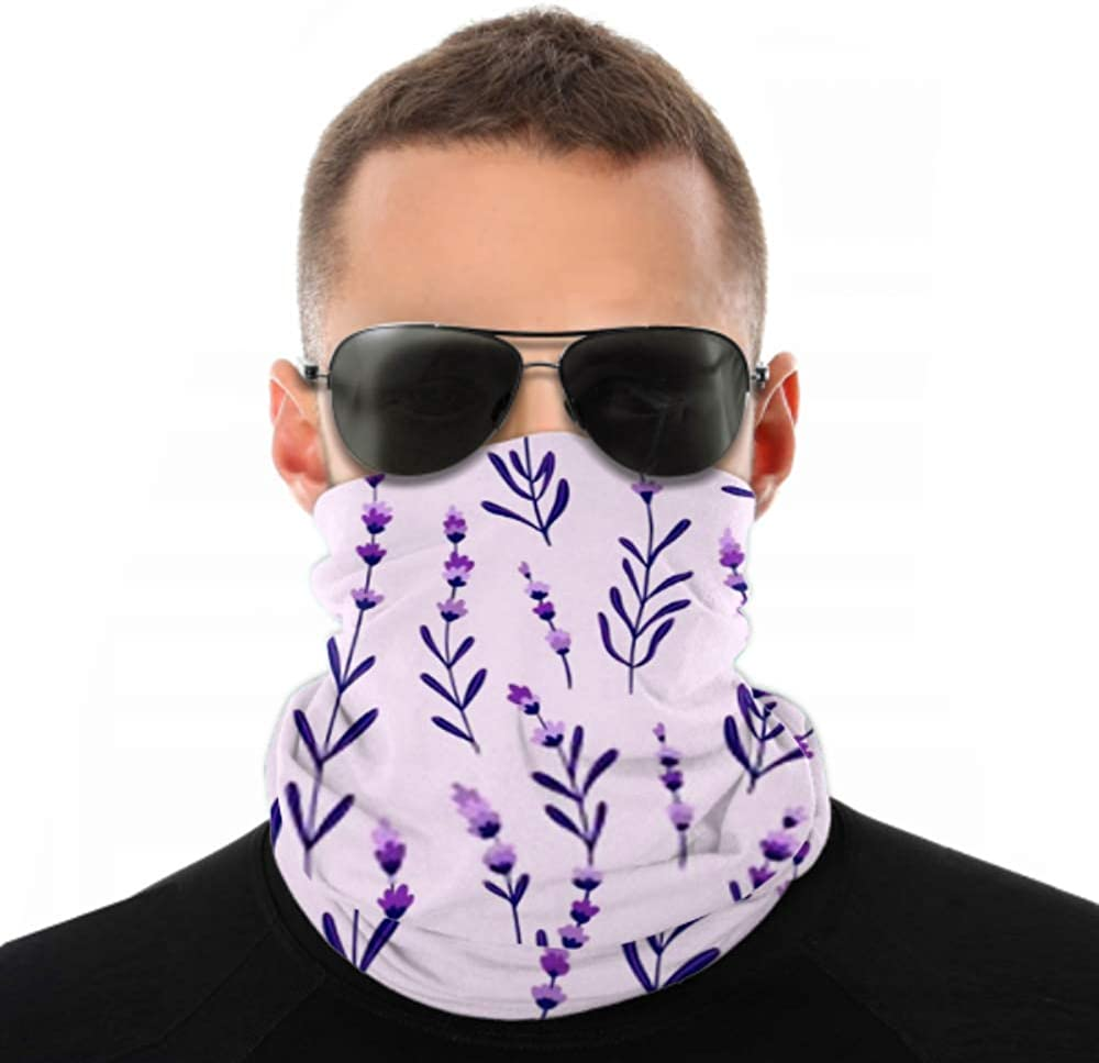 Headbands For Men Women Neck Gaiter, Face Mask, Headband, Scarf Beautiful Elegant Lavender Buds On Purple Turban Multi Scarf Double Sided Print Workout Headbands For Women For Sport Outdoor