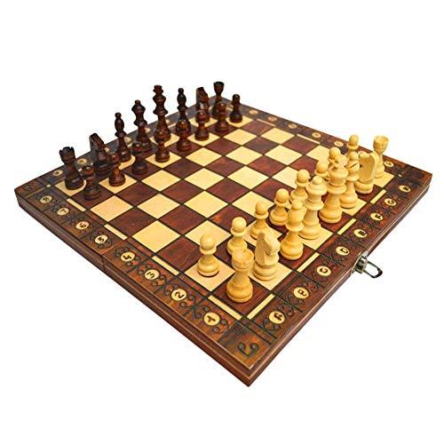 LINWEI Schach-Set, Schachbrett Set, International Schach 3 in 1 Klapptisch Family Party Board Spiel Puzzle Spielzeug