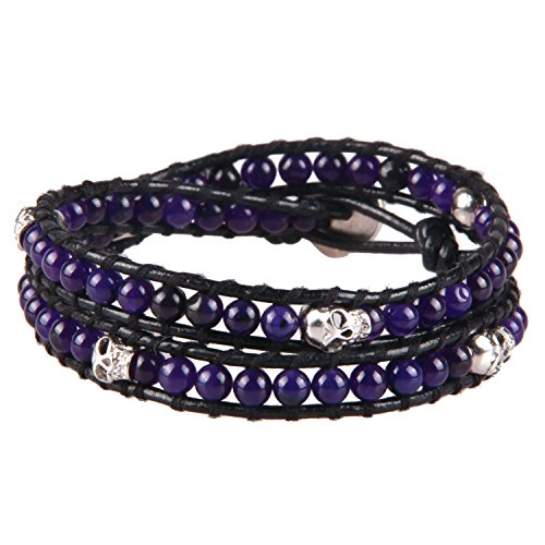 KELITCH Leder Armband Frauen Herren Wickelarmband Lila Jade Armband Manschetten Armbänder mit Schädel Charme, Schwarz Leder, 2-Kreis