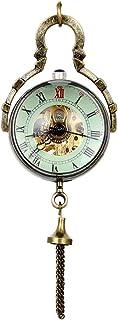Reloj de Bolsillo de Cuarzo, Esfera Bola de Cristal, Numero Romano con Cadena de 32 Pulgadas, Vintage Clásico Mecánica Mano Viento, Regalo Original, Avaner