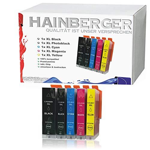 5X Hainberger XXL Patronen kompatibel zu Canon PGI580 CLI581 Pixma TR8550 TS6150 TS6151 TS6250 TS8150 TS8151 TS8152 TS8250 TS9150 TS9155 TS9550 TR7550 PGI-580 CLI-581 …