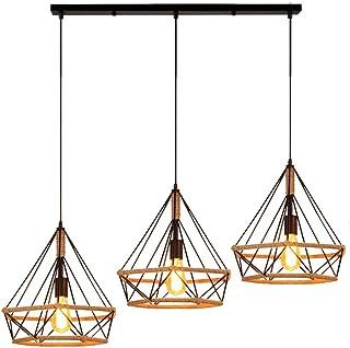 STOEX Estilo Loft Lámpara de Techo Colgante Retro 3 Luces Lámpara Colgante Vintage E27 Araña Diamante Cuerda de Cáñama Colgante