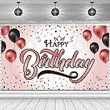 Banner de Telón de Fondo de Happy Birthday Póster Cartel Extra Grande de Rosa y Oro para 40 50 60 Cumpleaños Fiesta Aniversario Telón de Fondo