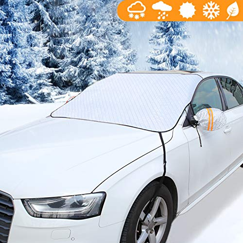 GLANDU Windshield Cover for Ice and Snow for Car with 4 Layer Protection and 4 Magnets Inside Waterproof,Snow,Ice,Frost Defense,Windproof Windshield Sun Shade, Extra Large Fits Most Car Truck SUV Van