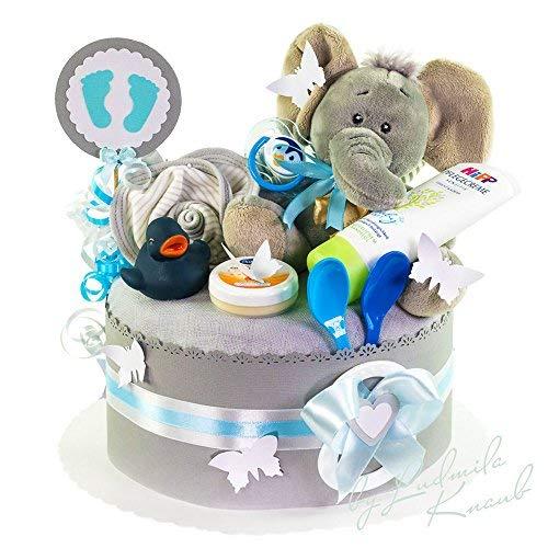MomsStory - Windeltorte Junge | Elefant | Baby-Geschenk zur Geburt Taufe Babyshower | 1 Stöckig (Grau) mit Plüschtier Lätzchen Schnuller und mehr