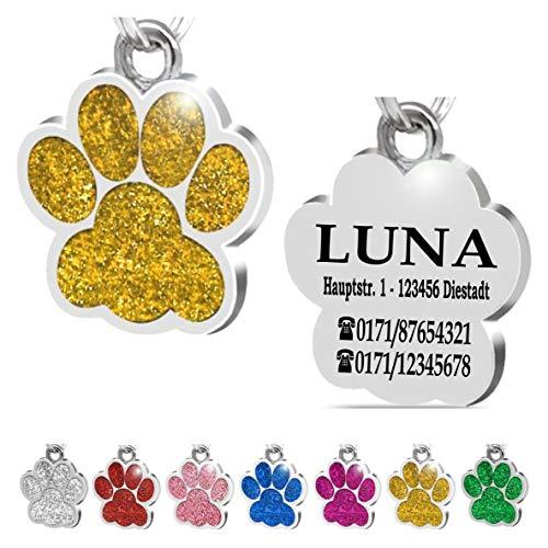 Iberiagifts - Hundemarke Pfote mit Gravur für kleine bis mittelgroße Hunde oder Katzen - Plakette graviert personalisiert (Gold)