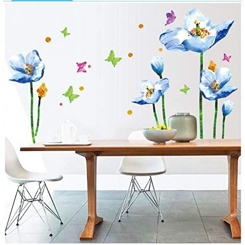 MWLSW Sticker Mural 3D Bleu Lily Fleur Autocollant dly Salon Chambre Canapé Arrière-Plan Wall Art Décoration De La Maison Stickers Muraux