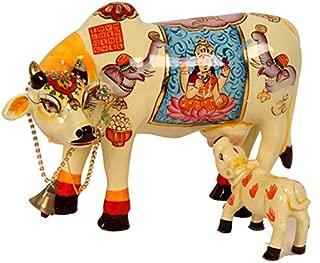 Purpledip Kamdhenu Cow And Calf: Beautifully Hand-painted Hindu Religious Symbols; Made Of Polyfibre (10104)