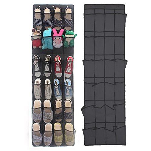 Rerii Hanging Shoes Organizer 24 Large Mesh Pocket, 3 Stainless Steel Hook, Over Door Shoes Rack Organizer Storage