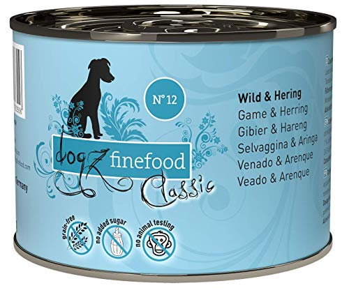 dogz finefood Hundefutter nass - N° 12 Wild & Hering - Feinkost Nassfutter für Hunde & Welpen - getreidefrei & zuckerfrei - hoher Fleischanteil, 6 x 200 g Dose