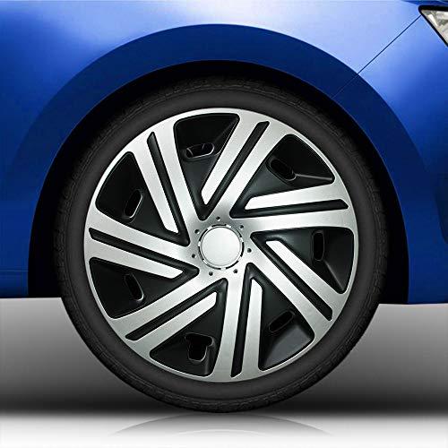 Eight Tec Handelsagentur (Größe und Farbe wählbar) Radzierblenden 14 Zoll – CYRKON (Schwarz-Silber) Bandel passend für Fast alle Fahrzeugtypen (universell)!