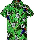 King Kameha - Camisa hawaiana para hombre, manga corta, bolsillo frontal, estampado hawaiano, diseño de loros Papagayo de color verde. XXL