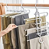 AIR&TREE Strong Pants Hangers Multi-Layer Hanging Pants 5 in 1 Pants Rack Folding Storage Rack Space Saver Storage for Clothes Trousers Scarf Tie Jeans Hanging Gray(1PACK)