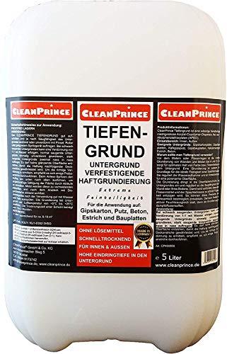 Cleanprince Tiefengrund 5 Liter Haftgrundierung extrem feinteiliger Haftgrund für Gipskartonplatten, Gipsfaserplatten, Kalkgipsputz, Gipsbauplatten, Kalkzementputz, Estrich, Beton