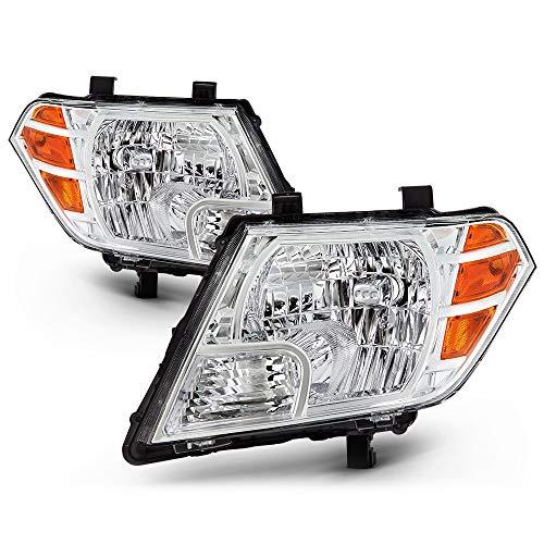VIPMOTOZ Chrome Housing OE-Style Headlight Headlamp Assembly For 2009-2019 Nissan Frontier, Driver & Passenger Side
