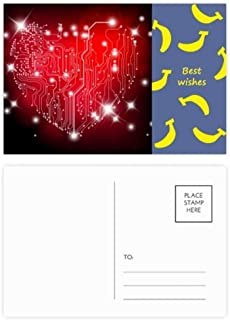 Black Red Heart Shaped Valentine Banana Postcard Set Thanks Card Mailing Side 20pcs