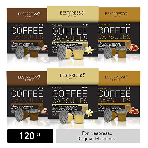 Bestpresso Coffee for Nespresso Original Machine 120 pods Certified Genuine Espresso Variety Pack Caramel,Vanilla and Chocolate, Pods Compatible with Nespresso Original