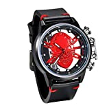 JewelryWe Men Skull Watches Unique Cool Quartz Watch Black PU Leather Wristwatch with Transparent Back, for Fathers Day