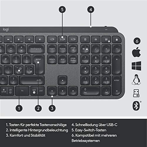 Logitech MX Keys Kabellose Tastatur, Bluetooth & USB-Empfänger, USB-C Anschluss, 5-Monate Akkulaufzeit, Easy-Switch Feature, Tastenbeleuchtung, PC/Mac, Deutsches QWERTZ-Layout - Schwarz
