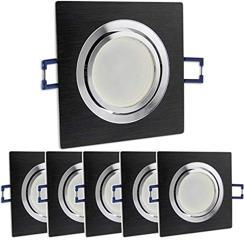 6x LED Einbaustrahler Set eckig - schwarz 5 Watt neutralweiß dimmbar 230V flach (30mm Tiefe) – Einbauleuchte schwenkbar Ø 70mm Bohrloch – Einbau-Spot neu Decken-Strahler