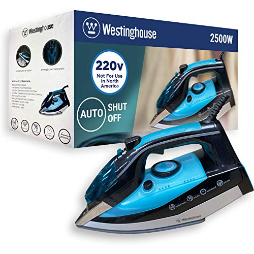 Westinghouse 220v Iron 2500 watts with Steam & Auto Shut Off 220 – 240 Volts 50/60 hz Bundle with Dynastar Plug Adapter (NOT for USA)