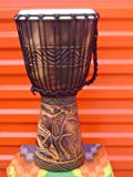 """20"""" Tall (M8) Elephants Deep Carved Djembe Bongo Drum with Free Cover"""