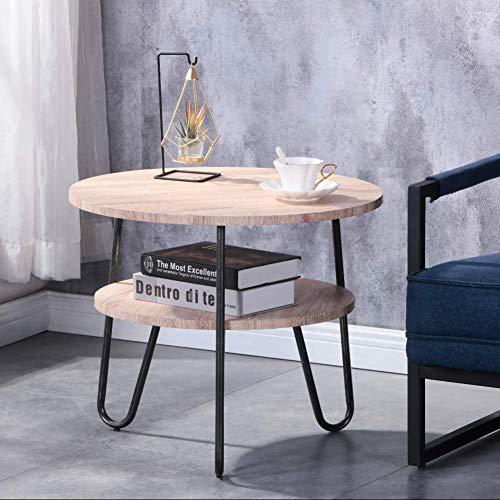 GOLDFAN Runder Beistelltisch, kleiner Couchtisch mit 2 Ebenen, Aufbewahrungsmöglichkeit aus Holz, Snacktisch für Ecke, Wohnzimmer, Schlafzimmer, Natur