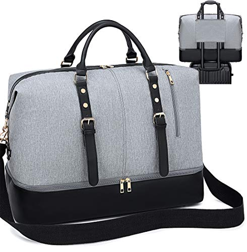 LEDAOU Reisetasche Damen Weekender Groß Handtasche mit Schuhfach Herren Wasserdicht Handgepäck Frauen Schultertasch Sporttasche 55L Grau