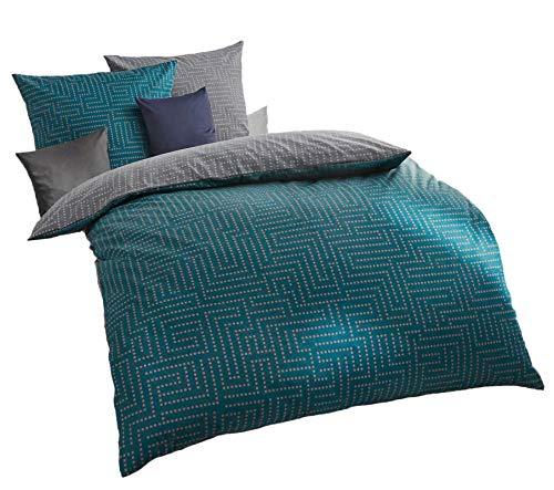 Kaeppel Mako Satin Bettwäsche 135x200 cm Password smaragd, Wendebettwäsche mit Reißverschluss, mit Aufbewahrungsbeutel