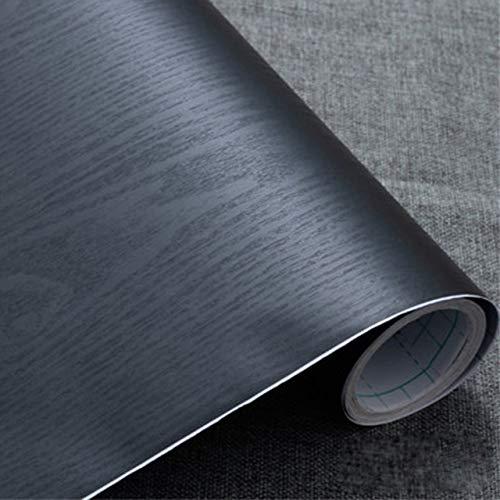 Haus Dekoration 2 Meter wasserdichte PVC Marmor/Holz/Pure Color Wallpaper Fashion Popular Wohnzimmer Küche-Wand-Aufkleber-Raum-Dekor Film Aufkleber (Color : Wood Black, Size : 40cm x 10 Meters)
