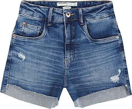 Shorts Comfort Jeans Desfiado Malwee, Azul, Feminino, 42