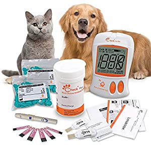 Pet Control HQ Glucometer for Dogs & Cats – Lab-Accurate Blood Sugar Glucose Meter Testing Kit, Test Strips w/ 2 Calibrated Code-Chips to Monitor Canine or Feline Diabetes – 50 Lancets & Log Book