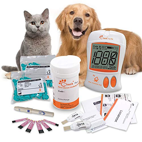 Pet Control HQ Glucometer for Dogs & Cats - Lab-Accurate Blood Sugar Glucose Meter Testing Kit, Test Strips w/ 2 Calibrated Code-Chips to Monitor Canine or Feline Diabetes - 50 Lancets & Log Book