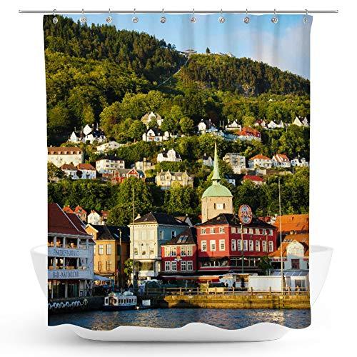 fotobar!style Duschvorhang 175 x 200 cm Die Stadt Bergen in Norwegen