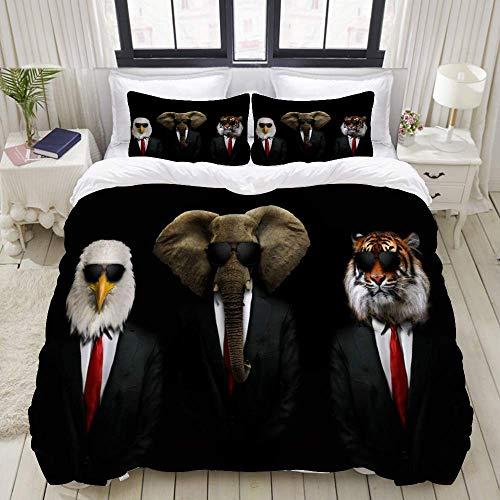 Juego de funda nórdica de 3 piezas de fácil cuidado y 2 fundas de almohada, divertido traje de animal, gafas de corbata, águila, elefante africano, tigre, cosplay, Gentry con humor, elegante y lujosa