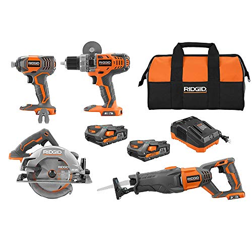 Sale!! RIDGID 18V Lithium-Ion Cordless Combo Kit (4-Tool) w/ (2) 2.0 Ah Batteries, 18V Charger & Con...