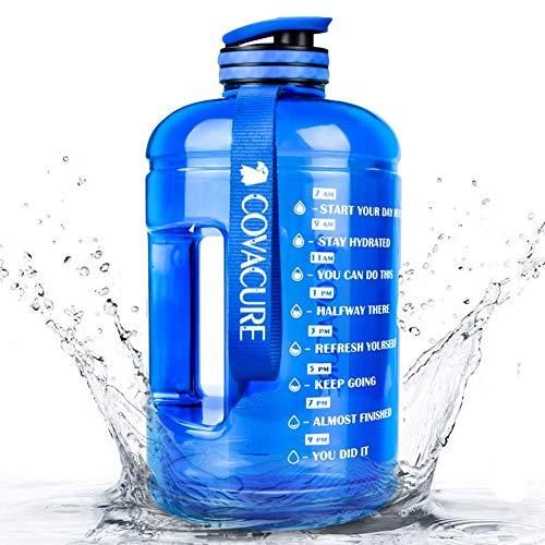COVACURE Trinkflasche Sport - 2.2L Wasserflasche, Groß Sportflasche, BPA Frei, Auslaufsicher, für Fitness, Gym, Heim, Büro, Outdoor (Blau)