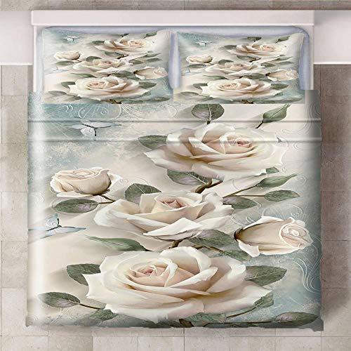 HYBWSO Funda nórdica de 3D Flor Rosa Blanca Verde Gris Juego de Cama con Cierre de Cremallera,Funda de edredón de 100% poliéster Suave 140cmx200cm