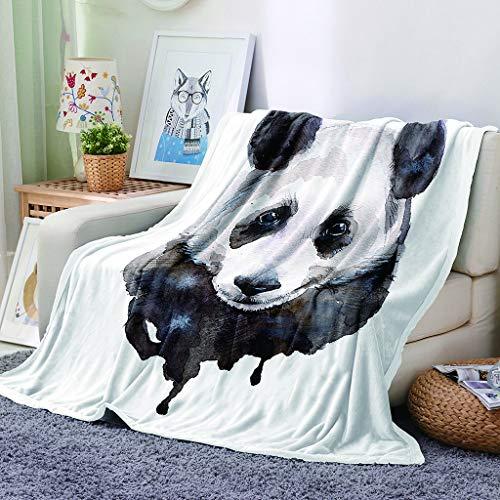 Chickwin Flanelldecke Kuscheldecke, Super Soft Weiche Wohndecke Warm Flauschige Decke TV-Decke Mikrofaserdecke Sofadecke oder Bettüberwurf Tagesdecke- Leicht zu pflegen (Schwarzer Panda,100x150cm)