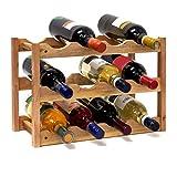 relaxdays cantinetta vino in legno di noce con 3 ripiani e le seguenti, h x b x t: 28 x 42.5 x 21 cm, marrone