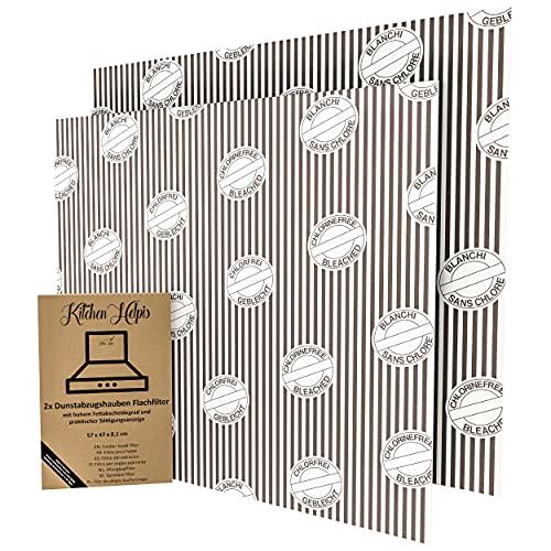 Kitchen Helpis® Dunstabzugshaube Flachfilter, 2 Stück, Filter Dunstabzugshaube zuschneidbar 57x54 cm, 1mm, starke Filterleistung, Filter für Dunstabzugshaube mit Sättigungsanzeige, Abzugshaube Filter