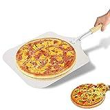 lijunjp Buccia per Pizza in Acciaio Inossidabile 12', Pagaia per Pizza Quadrata in Metallo, Spatola per Pizza Grande con Manico in Legno, per Grigliare, Cucinare, cuocere Torte, Biscotti