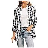 Fainosmny Women's Casual Plaid Lapel Open Front Ruched Office Cardigan Jacket Blazers Outwear Coat Long Cardigan Black