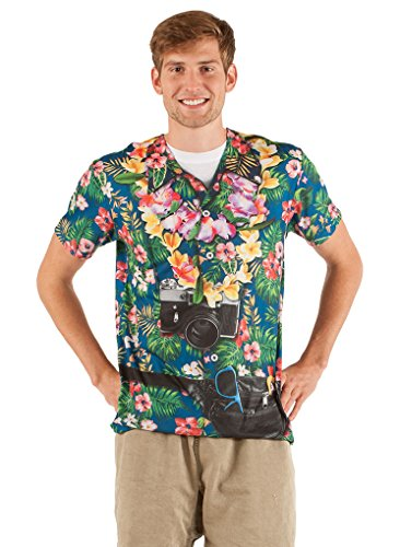 Adult Size Faux Real Tourist - Tacky Traveler - Hawaiian Happiness T Shirt - Small
